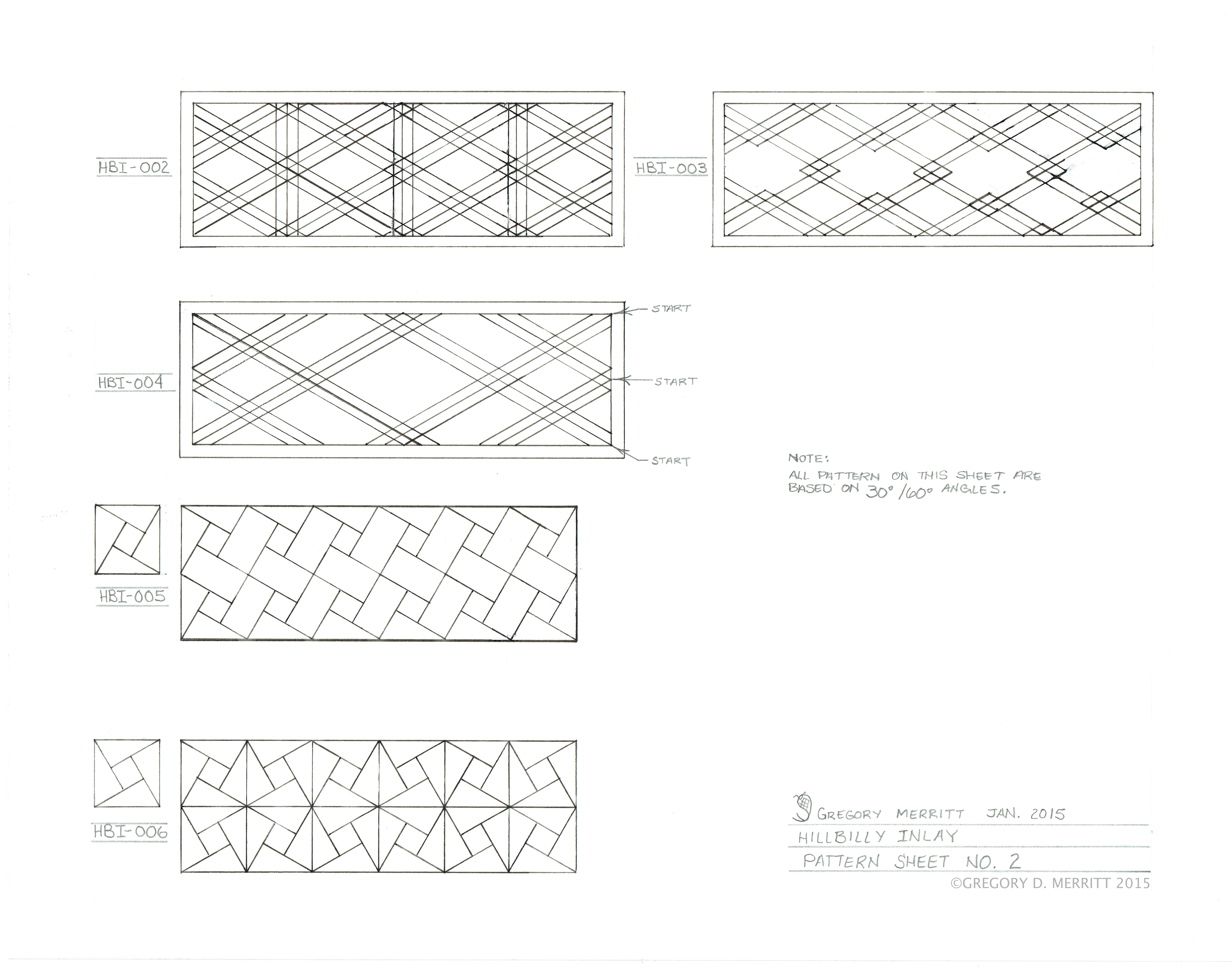 South West Inlay Designs And Patterns : Hillbilly inlay pattern development sheet no