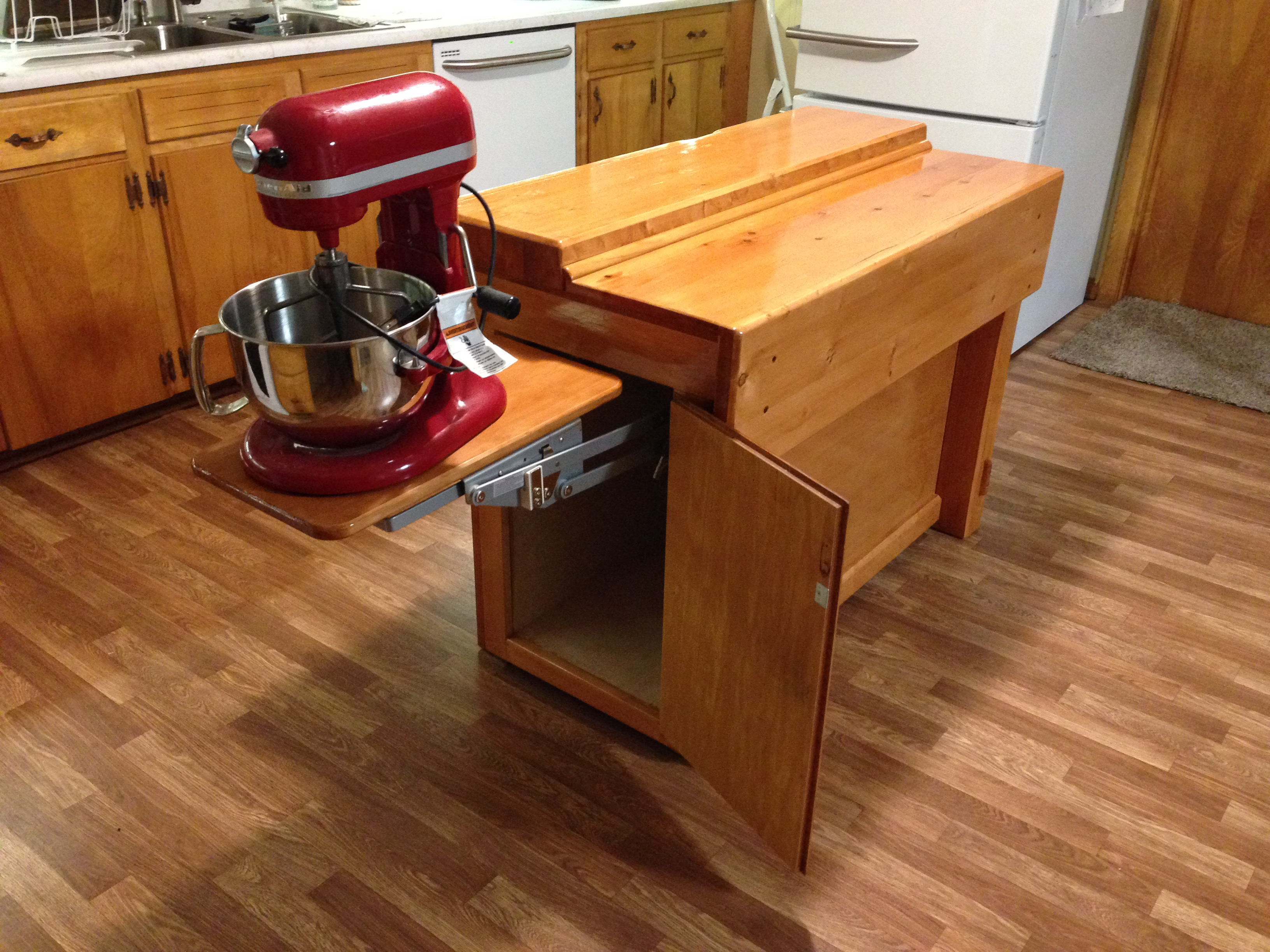 Kitchen Island Converted Into A Workbench Open Shelves Kitchen Island Basement Kitchen Island
